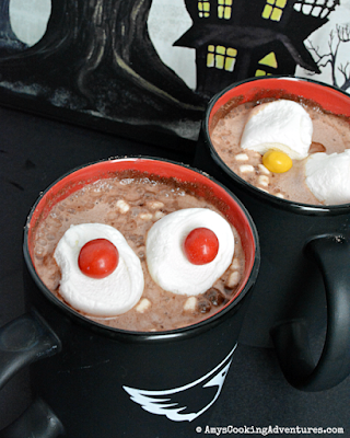 hot chocolate with marshmallow eyes