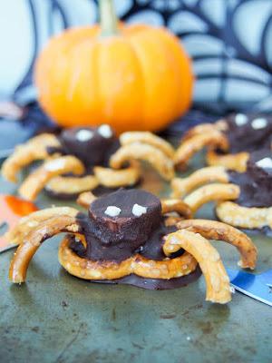 chocolate and pretzel spider