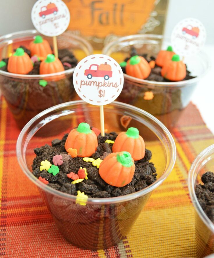 Small clear plastic cups filled with chocolate dirt pudding and topped with leaf sprinkles and pumpkin candies.