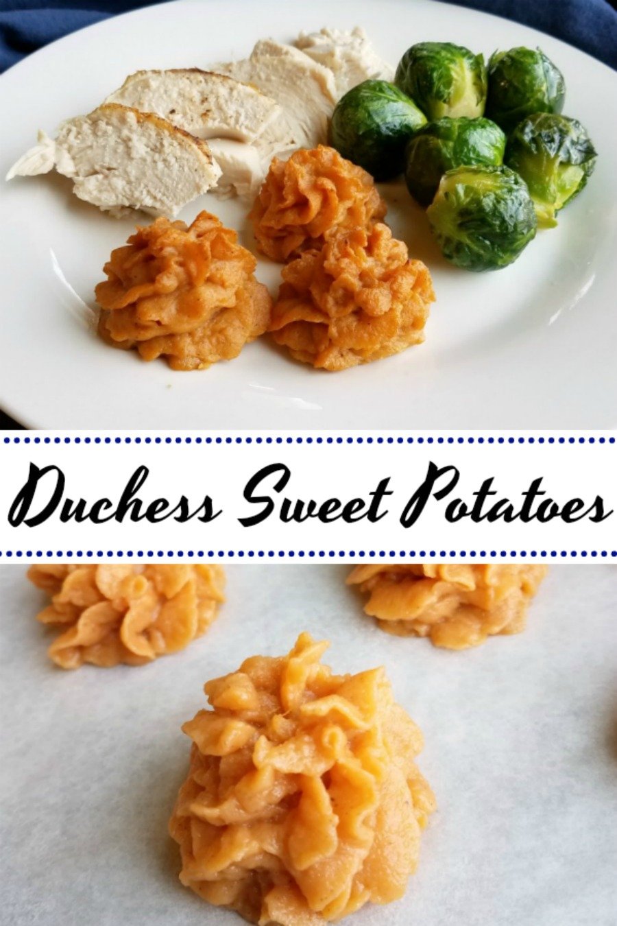 These duchess sweet potatoes add a little pizzazz to your plate, but they are really simple to make. They would be a fun way to change up your Thanksgiving or Christmas meal, but are delicious any time!