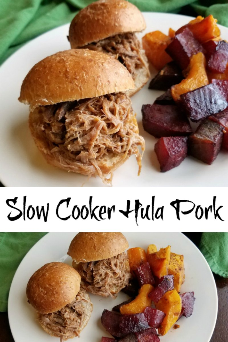 This slightly sweet and slightly spicy pulled pork is easily made in a slow cooker. It is great on a bun, over rice or would make a fun filling for a fusion taco!