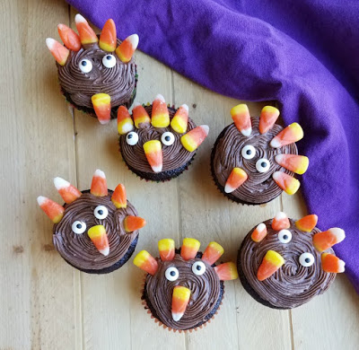 variety of turkey cupcakes decorated by a kid