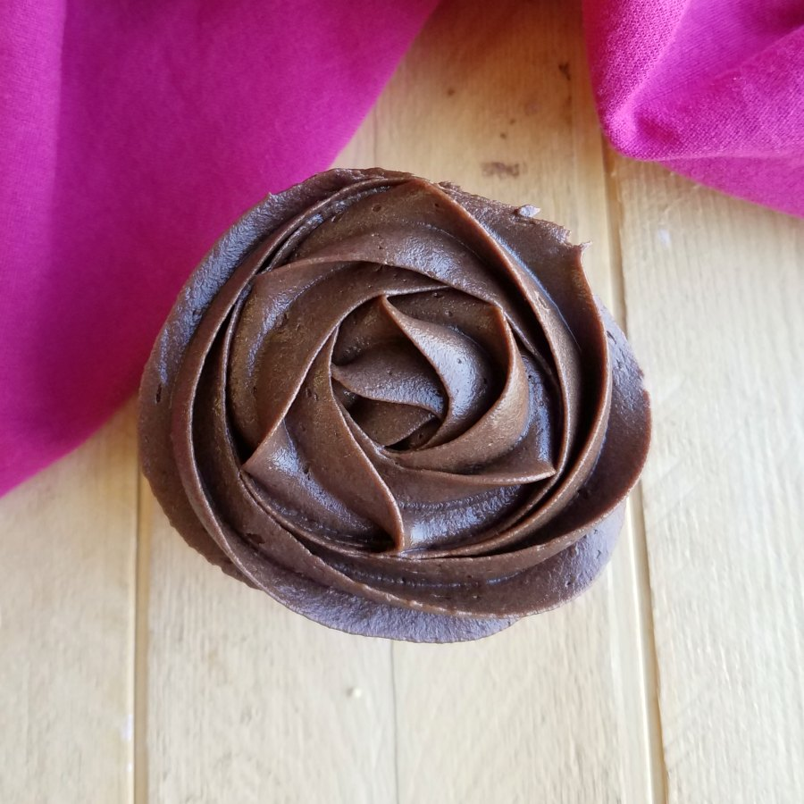 looking down on chocolate frosting rosette.