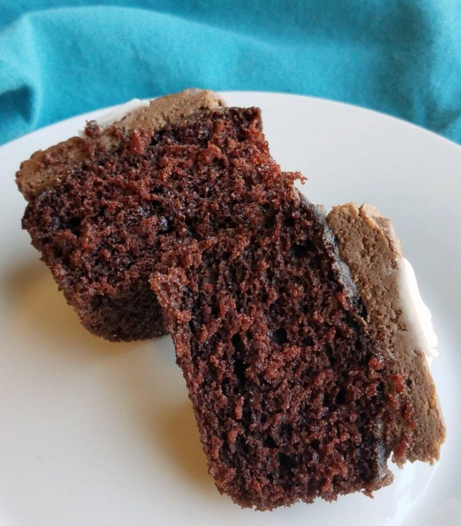 inside of chocolate cupcake.