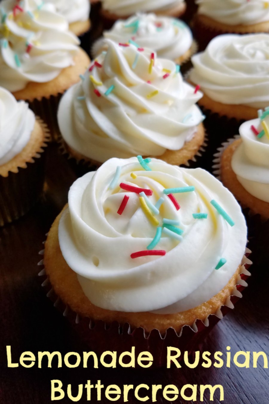 This silky smooth Russian buttercream is made with sweetened condensed milk and flavored with lemonade. Pipe some on lemon cupcakes for an luscious lemon treat!