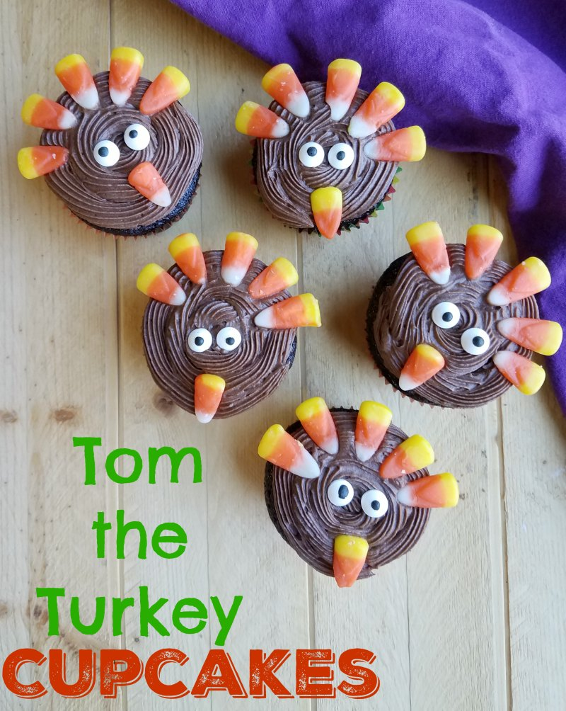 These cute Tom the Turkey cupcakes are easy to make and delicious too. The kids will love to help make them and your Thanksgiving dessert table will be that much cuter!