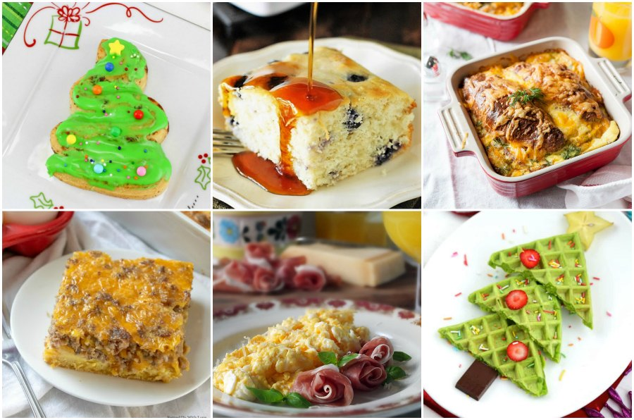 collage of Christmas morning breakfast ideas