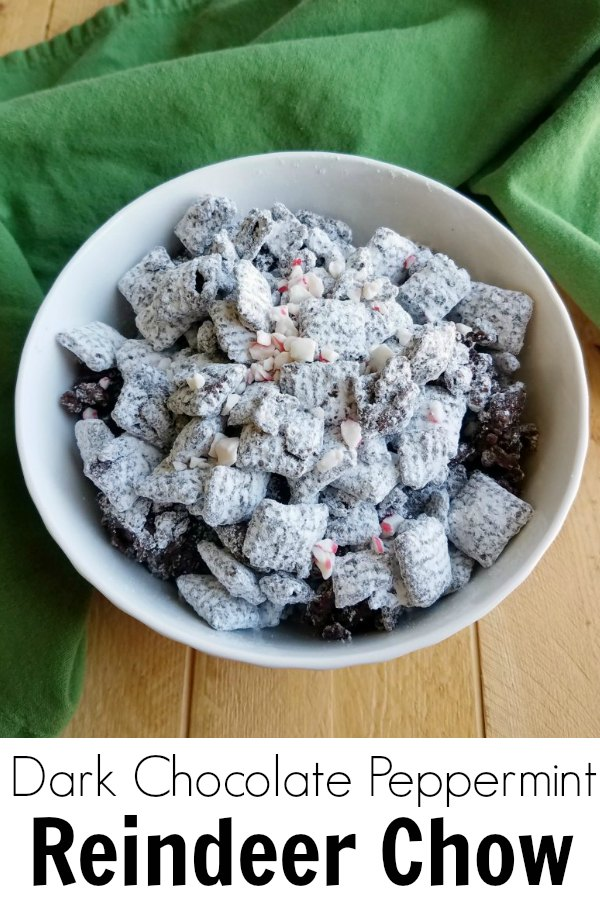 bowl of dark chocolate peppermint coated cereal dusted in powdered sugar