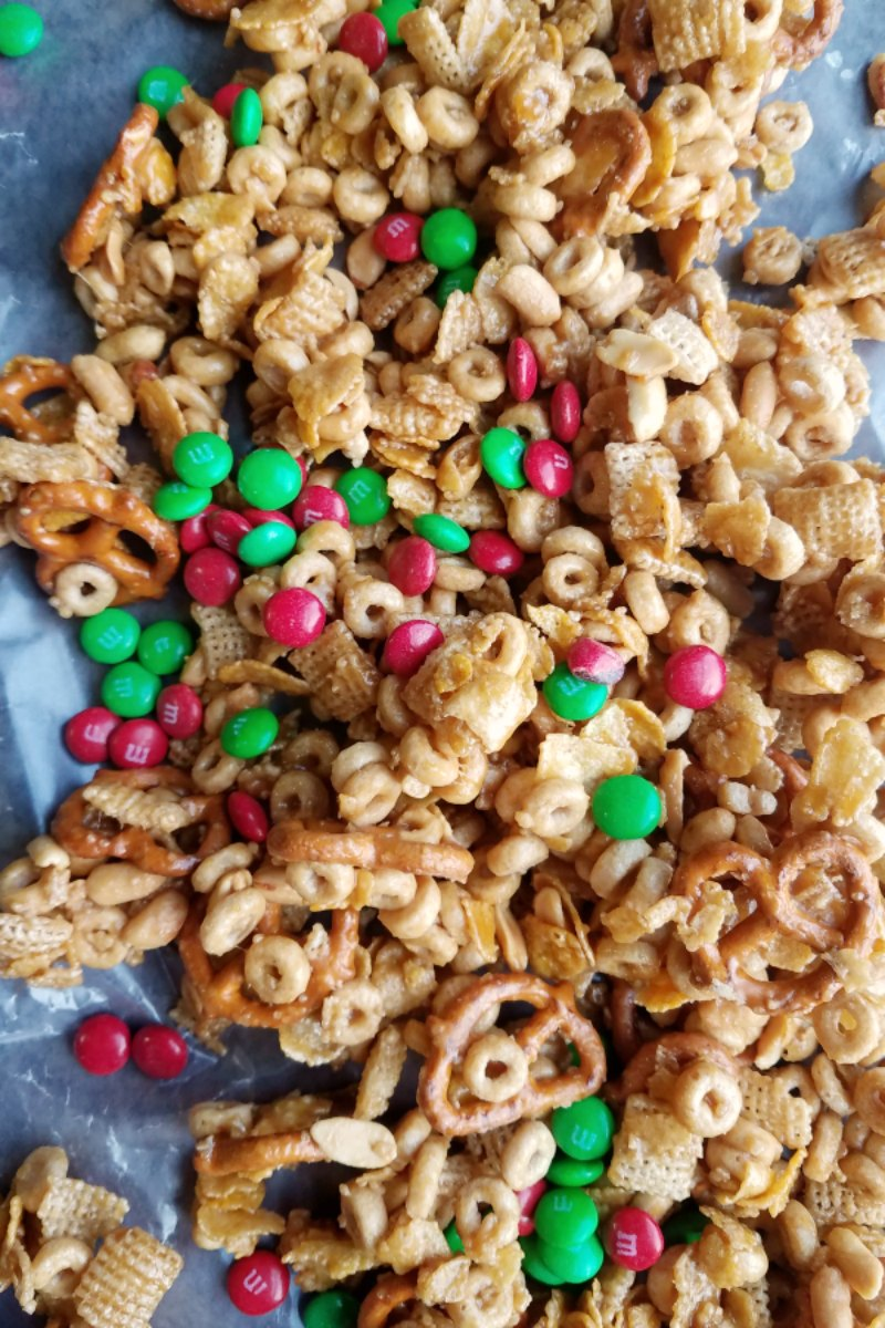 sweet and salty snack mix with m&ms mixed in.