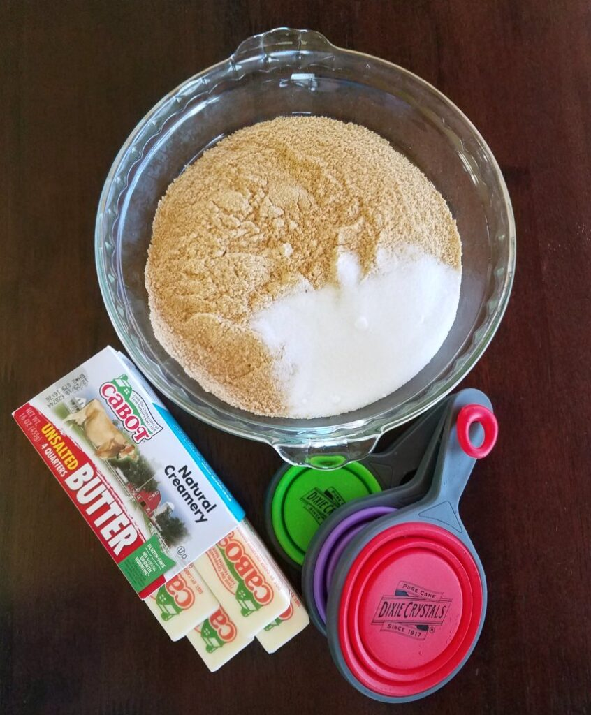 Ingredients for graham cracker pie crust.
