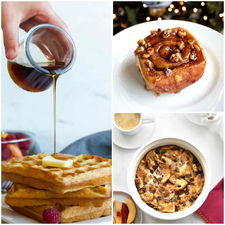 collage of waffles, french toast casserole and cinnamon rolls