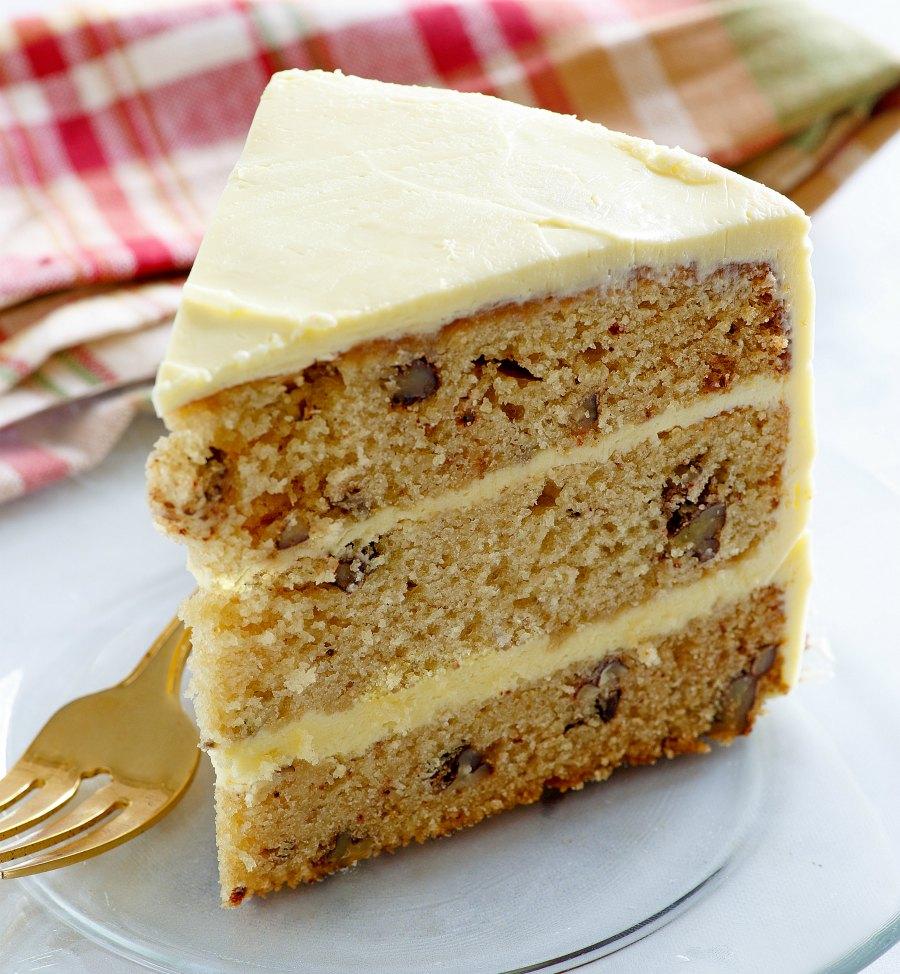 slice of maple pecan layer cake