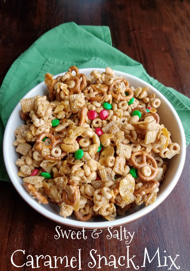 This caramel snack mix has it all. It is sweet and salty, crunchy and delicious. Plus it can easily be customized to what you have on hand or your tastes!