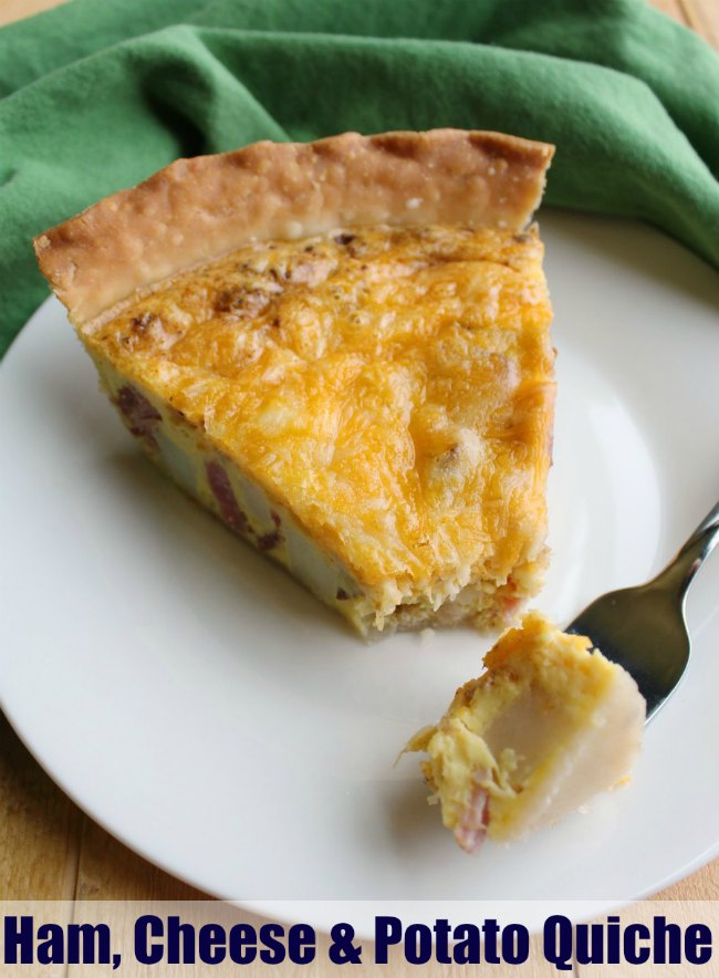Quiche does not have to be pretentious or fancy. In fact, it is a perfect low key meal. It comes together easily and can easily be adapted to fit your tastes. This super simple ham, potato and cheese version is sure to be a hit, even with pickier eaters.