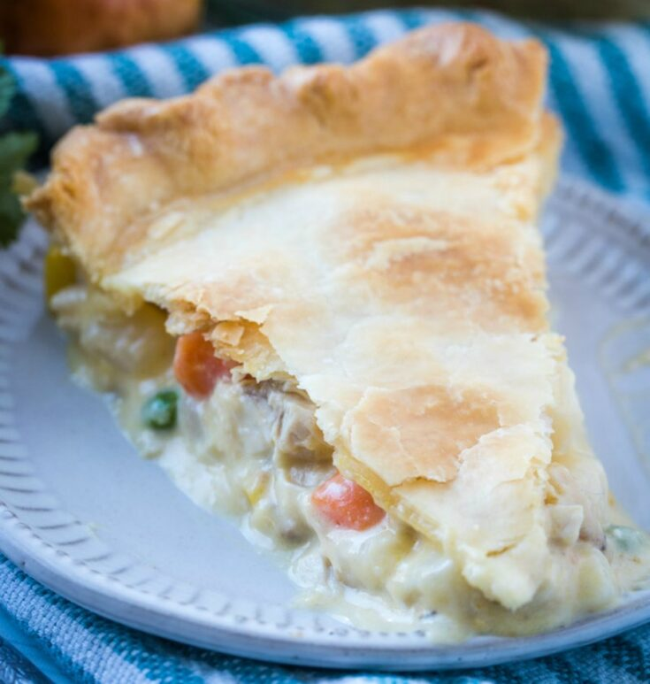 slice of pot pie with creamy chicken and vegetable filling