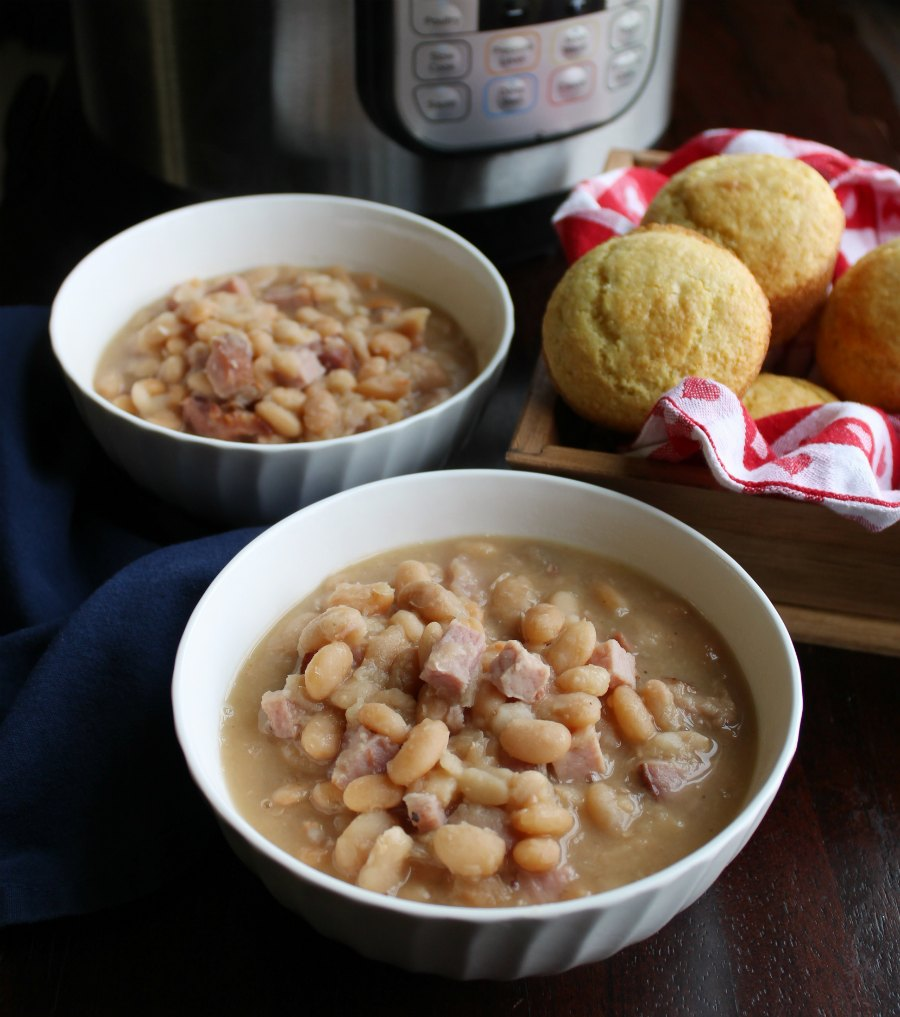 bowls of ham and beans with corn muffins and instant pot