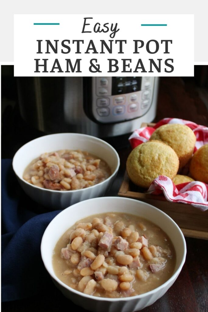 Make ham and beans in your instant pot for a satisfying meal. It's a great way to use leftover ham and there's no need to soak the beans!