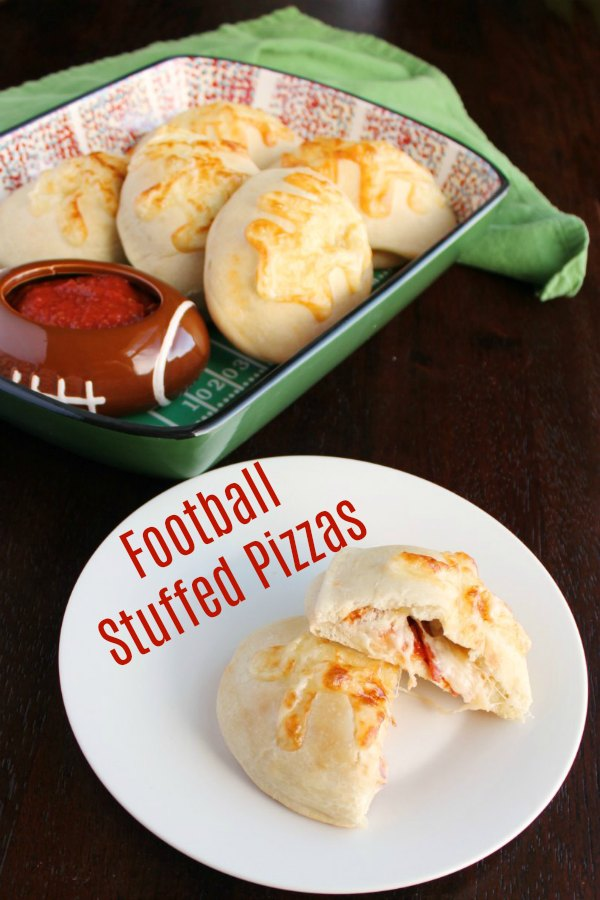 Make stuffed pizza footballs for your big game party! They are cute and easy. They could also be made into a super fun dinner.