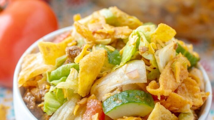 small bowl of frito salad ready to eat