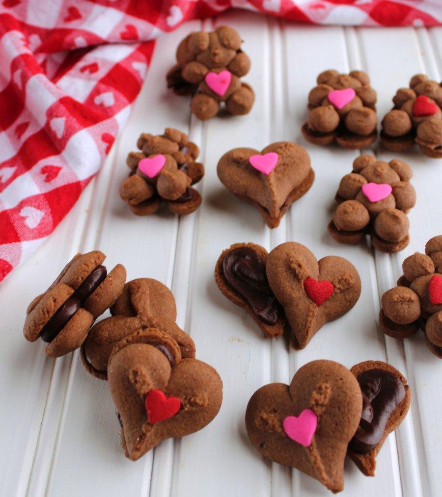 teddy bear and heart chocolate sandwich cookies.