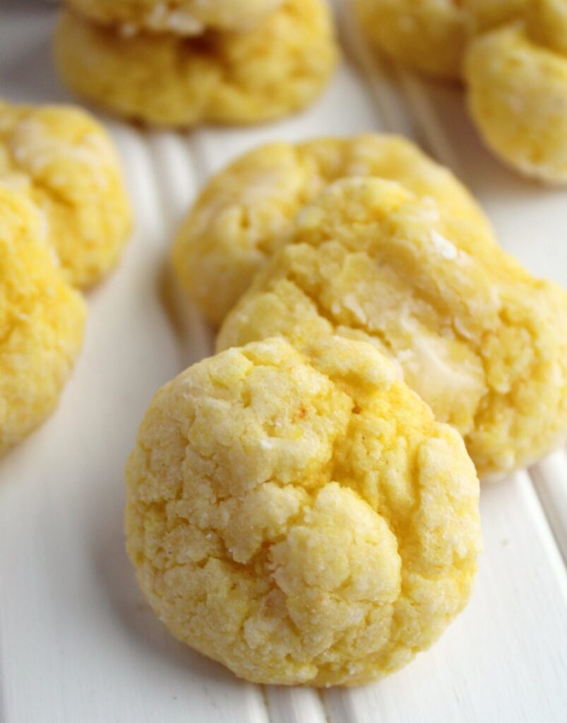 close up of soft pillowy lemon gooey butter cookies.