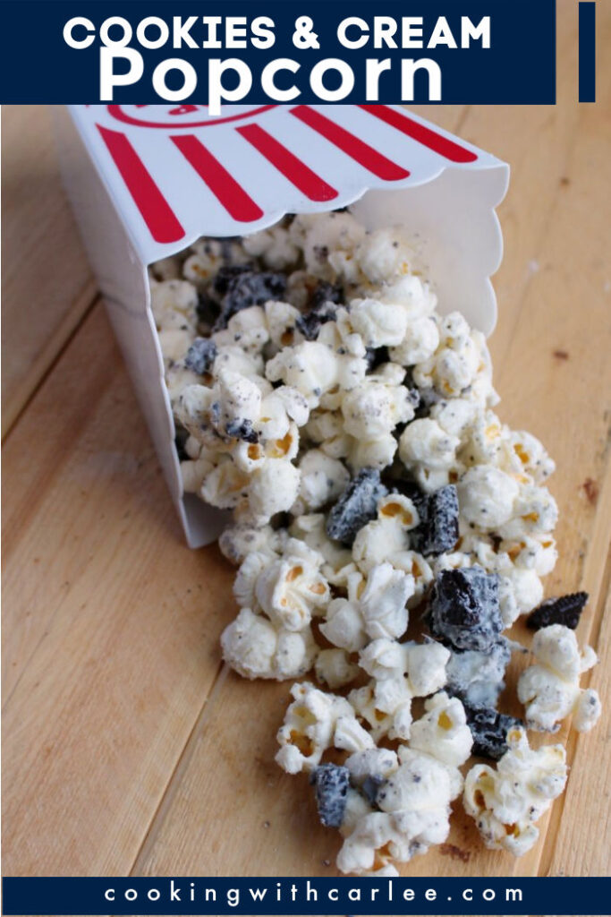 A sweet munchable mix of popcorn, chocolate cookies and white chocolate makes for a perfect snack mix. Make it for your next party and watch it disappear!