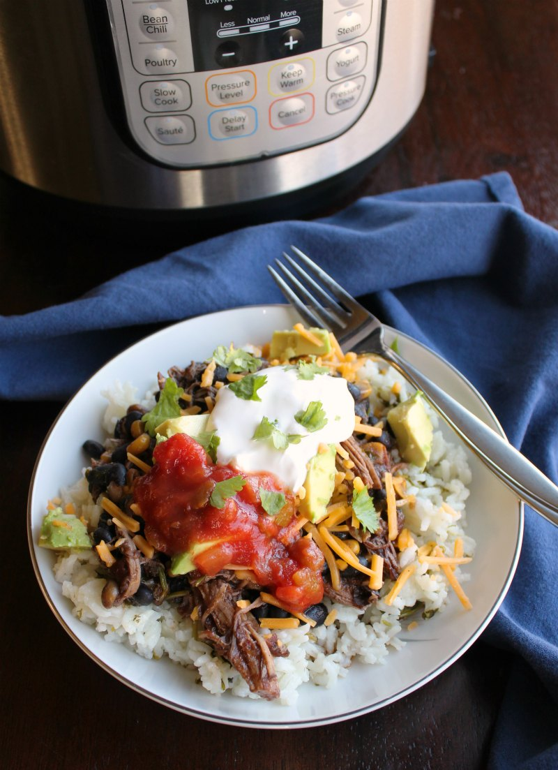 Salsa chicken is a great quick dinner when you make it in the instant pot. You can even start with dry black beans! Make some rice and get your favorite toppings ready while it cooks!
