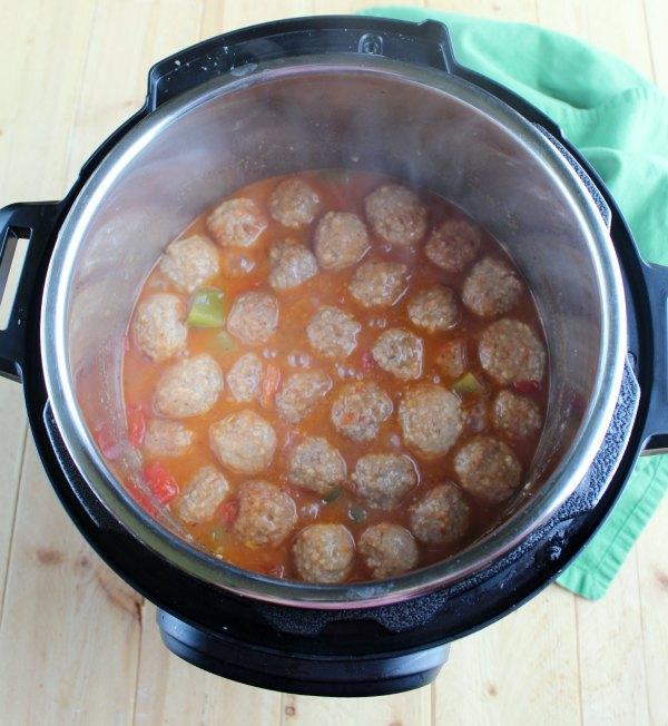 steamy hot swiss steak meatballs in instant pot