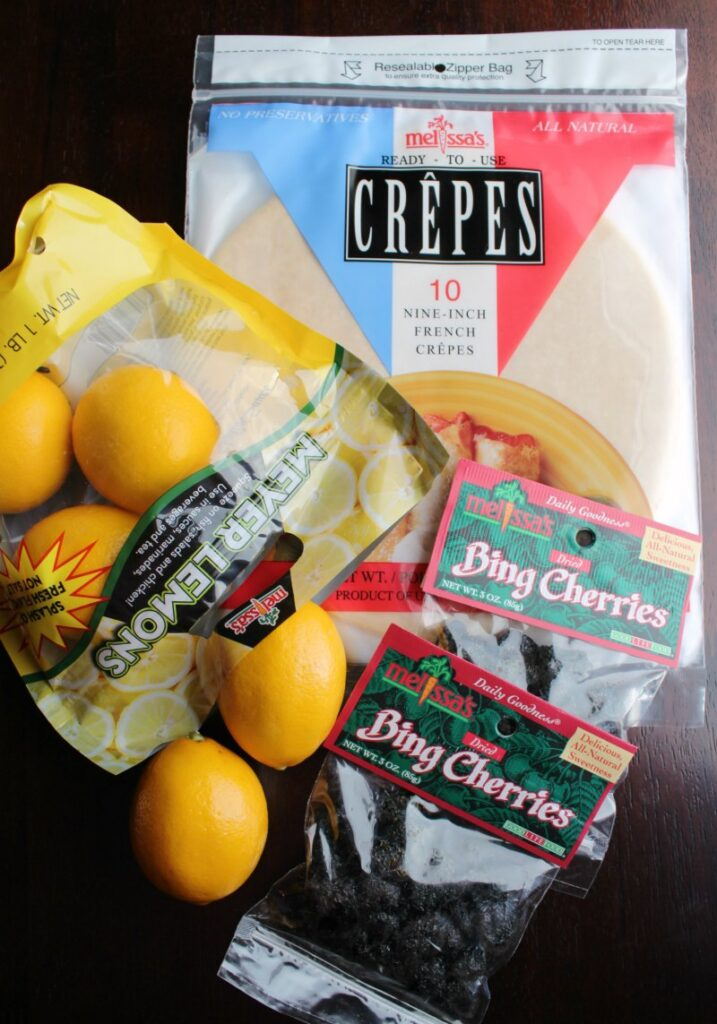 Melissa's premade crepes, meyer lemons and dried bing cherries.