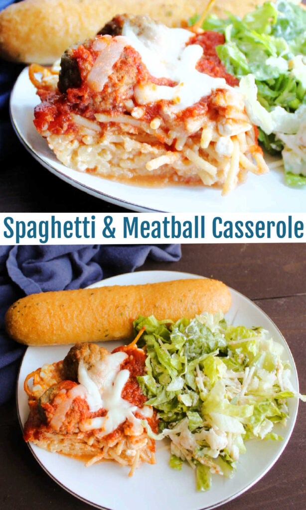 Baked spaghetti and meatball casserole is a fun twist on that classic favorite dinner. It is easier to make than lasagna and more fun too!