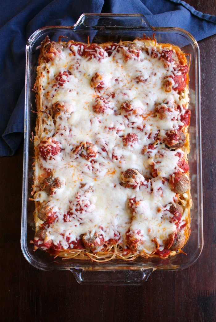 full pan of spaghetti and meatball bake fresh from the oven