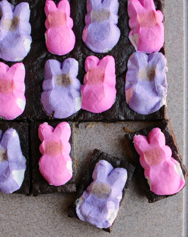 first two pieces of peeps s'more bars