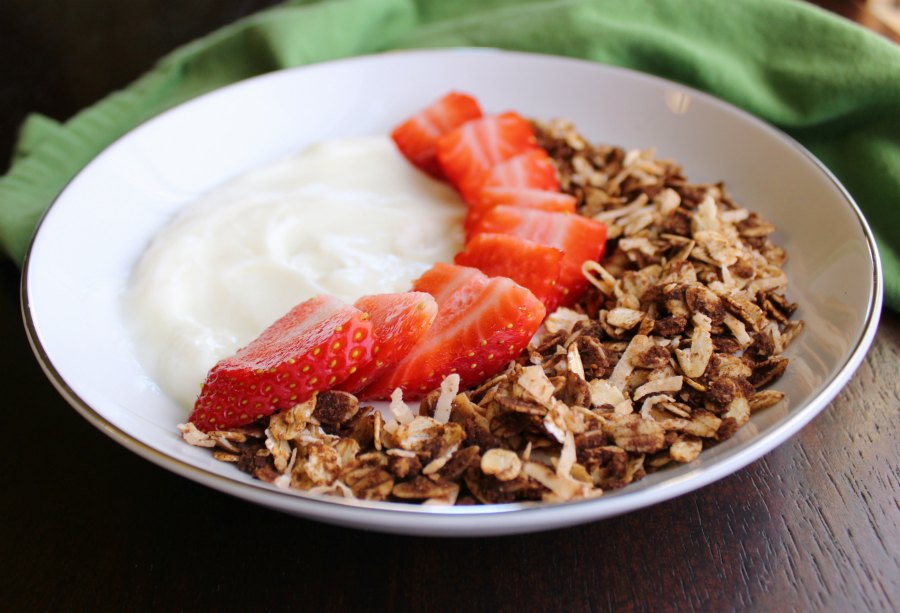 close up of bowl of yogurt with sliced strawberries and chocolate coconut granola