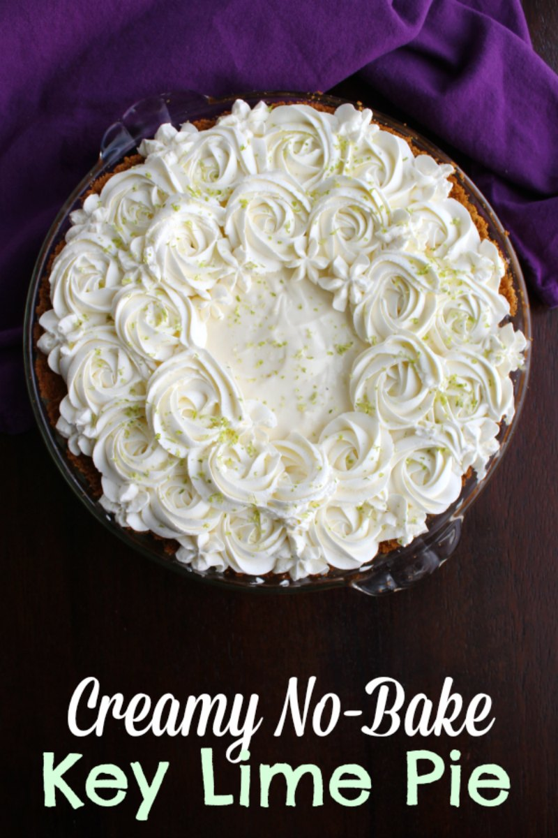 This key lime pie is super easy to make and doesn't require any whipped topping!  It has just a few simple ingredients.   It has the perfect balance of bright, tart key limes and a creamy sweet base.  The pie is absolutely wonderful on its own, but some simple whipped cream flourishes make it beautiful.  It is perfect for summer parties, holidays and more.