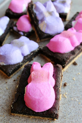 jumble of Peeps s'more bars on cutting board
