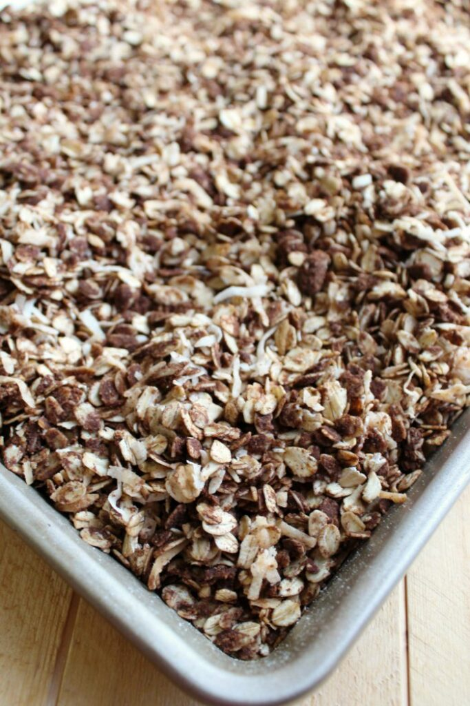 tray of chocolate coconut granola fresh from the oven.