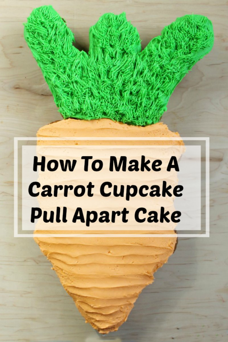 Make a fun and easy carrot shaped pull-apart cupcake cake at home. It's perfect for Easter, Peter Cottontail themed baby showers, garden parties and more!