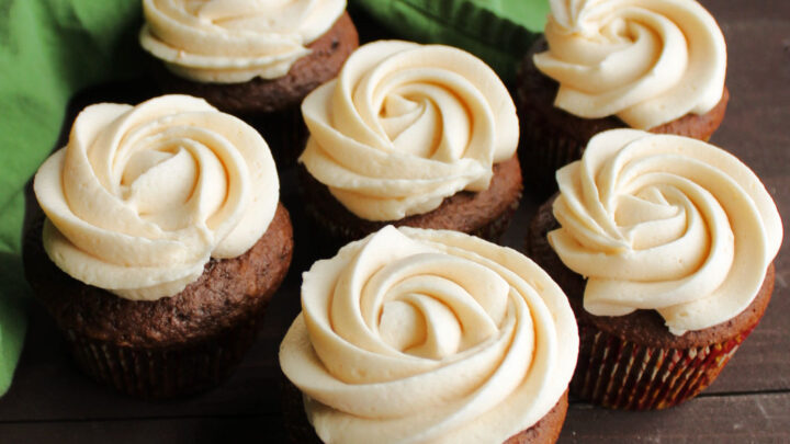 chocolate cupcakes with caramel buttercream rosettes