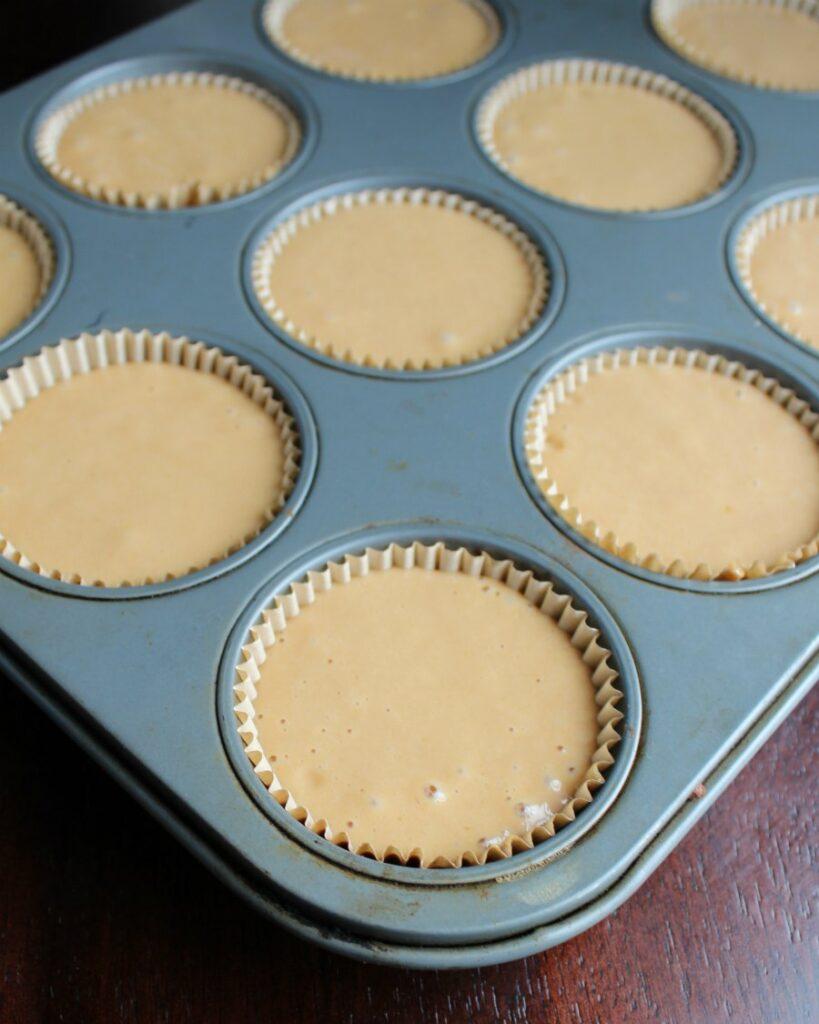 sweet tea cake batter in cupcake tin ready to bake.