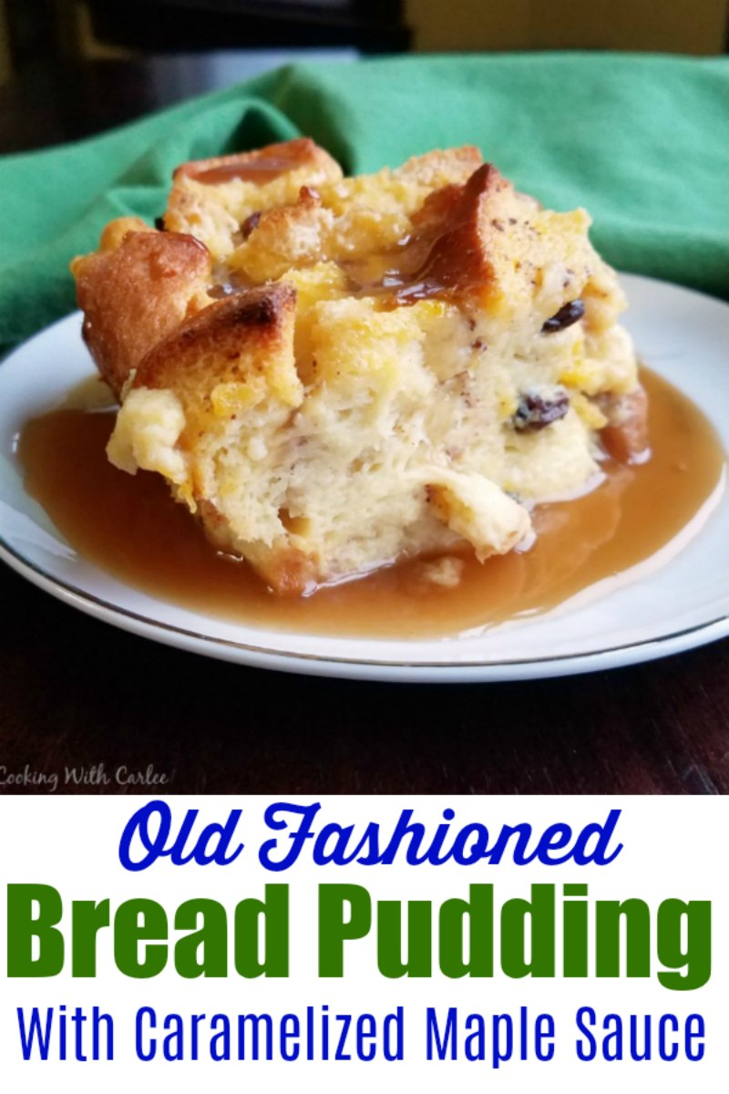 A classic bread pudding spiced with cinnamon and dotted with raisins is taken to the next level with a thick and buttery caramelized maple sauce. It is definitely an old timey comfort food dessert!