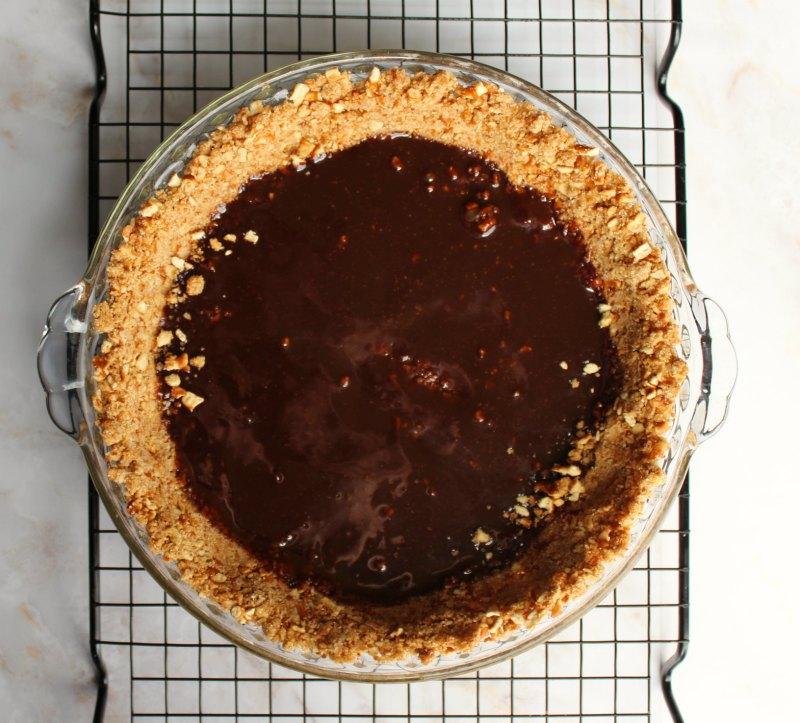 fudge base on pretzel crumb  pie crust.