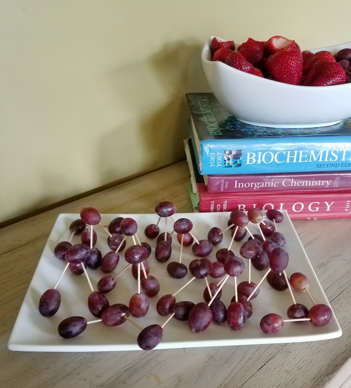 grapes held together with toothpicks to look like various chemical compounds