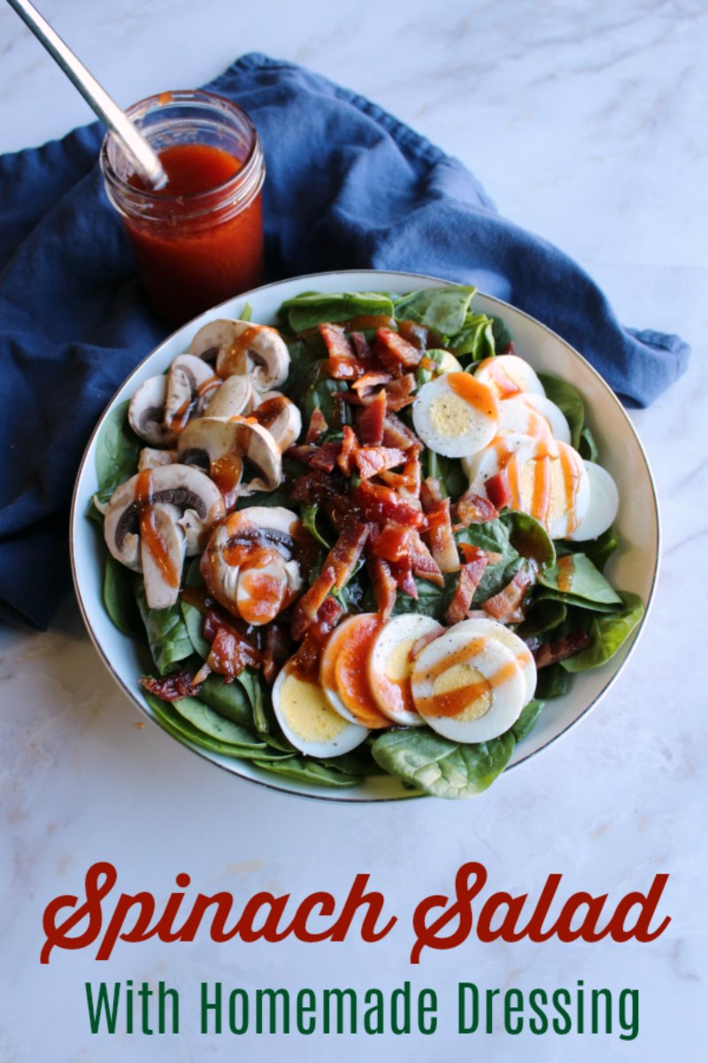 Spinach salad is a favorite for good reason. It is loaded with yummy toppings that work so well with the homemade dressing and spinach base. Serve it as a side or make a meal of it!