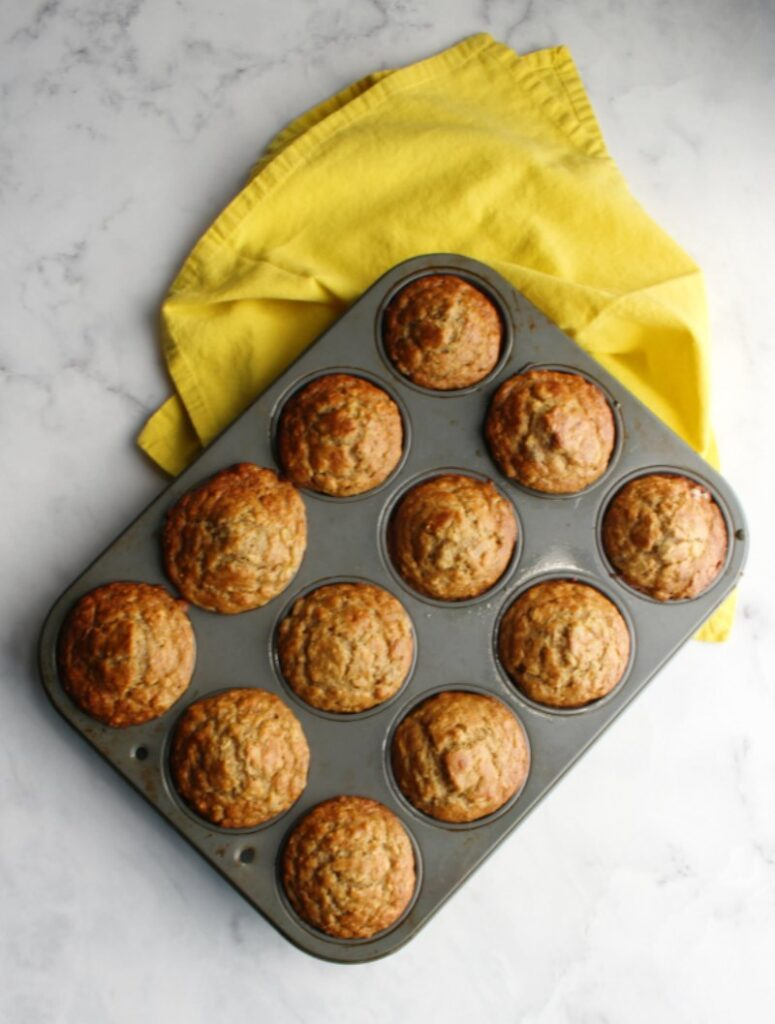 Tender muffins loaded with banana and oatmeal are a snap to make.  This easy recipe comes together in no time. They are a great way to incorporate some fruit and oatmeal into your breakfast or snack repertoire.