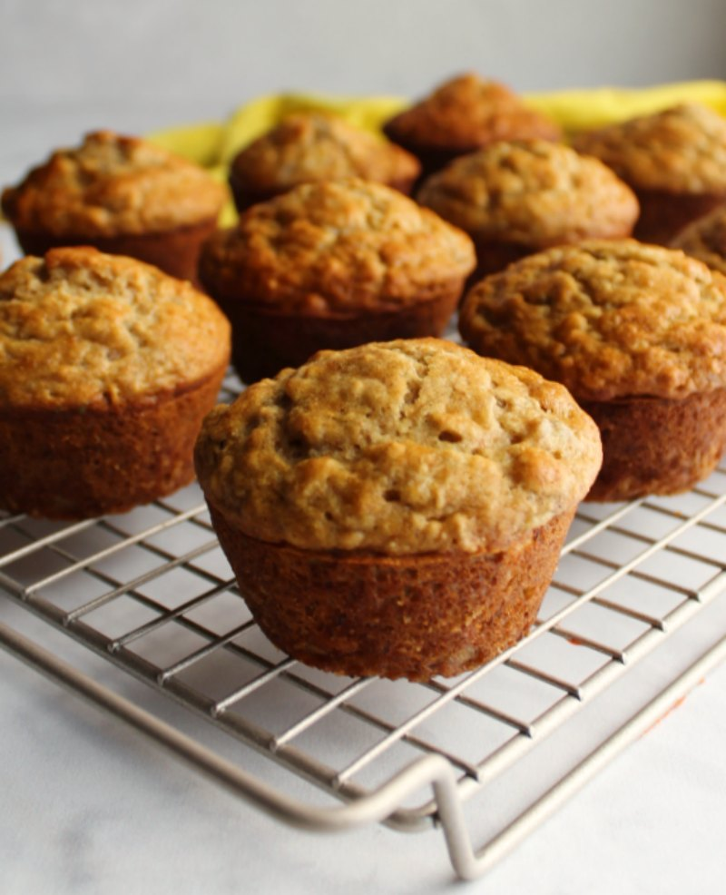 banana oat muffins on cooling rack