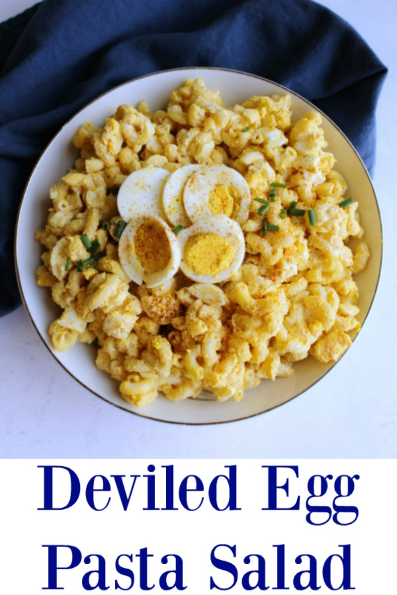 If you love deviled eggs, but need to feed a crowd this is a perfect way to stretch the flavor with a lot less work! Deviled Eggs Macaroni Salad is perfect for picnics, BBQs, potlucks and more!