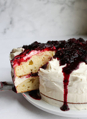 blackberry shortcake layer cake with ermine frosting and blackberry sauce