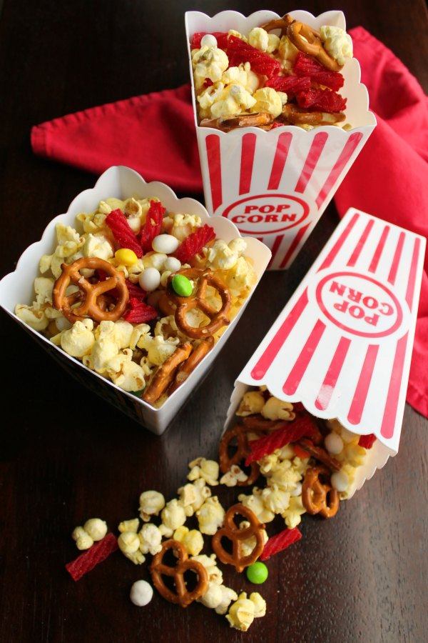 Make movie night at home better than a trip to the theater with this fun snack mix. It is also a fun munchy for game night and parties!