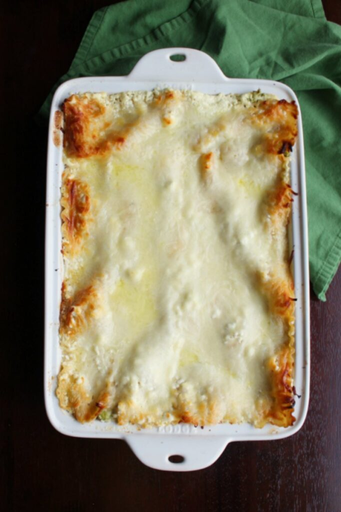 pan of chicken broccoli alfredo lasagna fresh from the oven with golden bits of cheese on top.