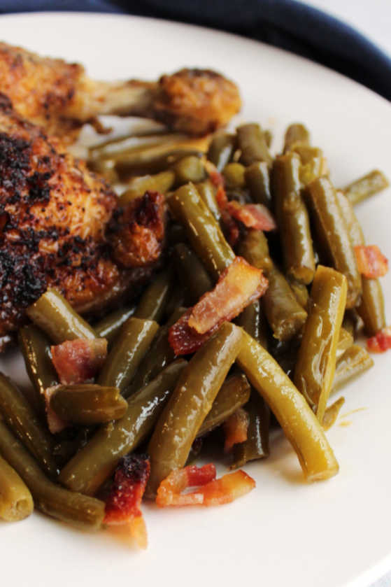 pile of smothered green beans with bacon ready to eat.